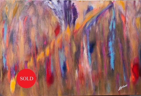 original, painting, oil, acrylic, rush, gold, metallic, move-people, color