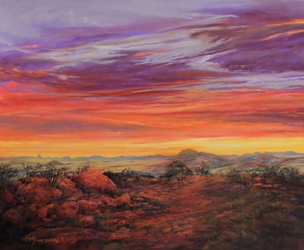 Lindy C Severns Art | Daybreak Across the Top of Texas, enhanced print