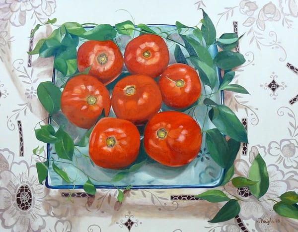 Tomatoes On A Blue Glass Plate Art | Helen Vaughn Fine Art