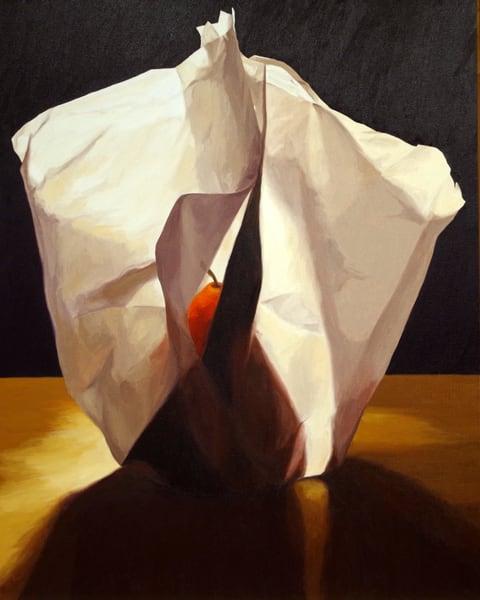 Pear Wrapped In Tissue Paper 2 Art | Helen Vaughn Fine Art