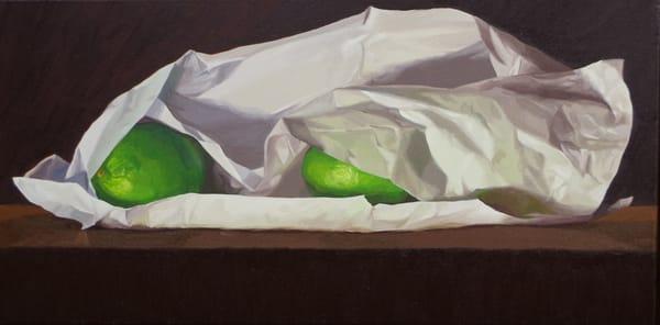 Three Limes And Tissue Paper Art | Helen Vaughn Fine Art