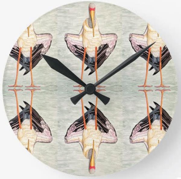 Painted Stork Wall Clock Art | Birds by Boyd