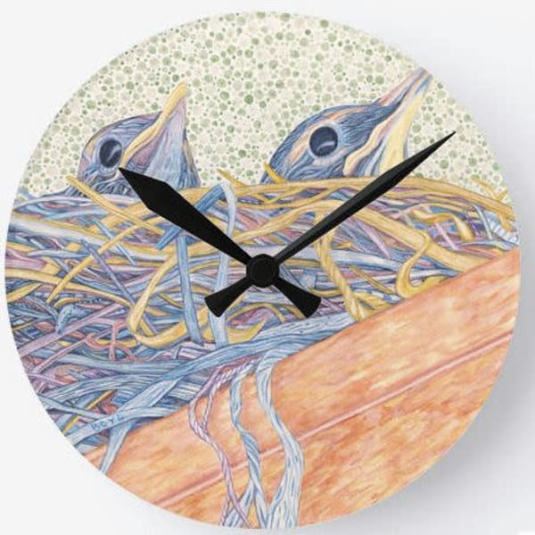 Robin's Nest Wall Clock Art | Birds by Boyd