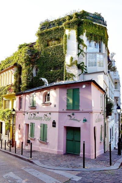 La Maison Rose Restaurant in Montmartre Photograph –Paris France Art Photography - Fine Art Prints on Canvas, Paper, Metal & More