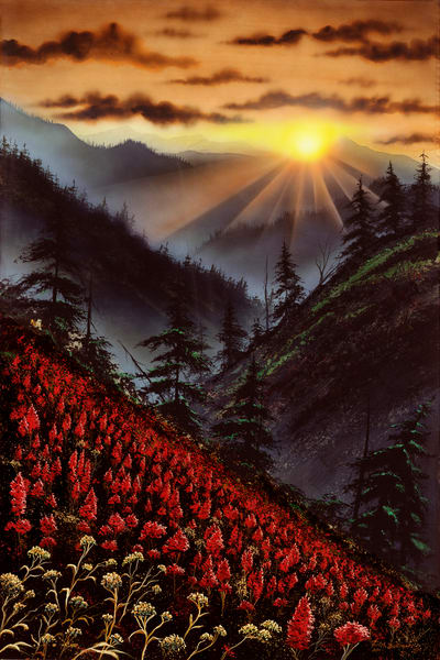"""Heavens Edge"" a fine art print of Montanas Big Sky sunset, and Indian paintbrushes by artist Joe Ziolkowski."