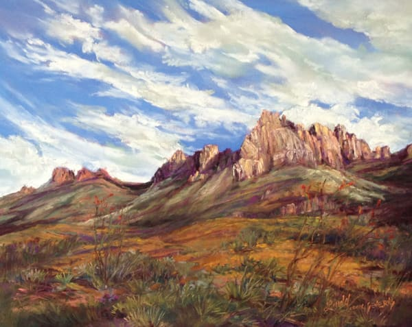 Big Bend Artist Notecard | Chisos Awash in Gold