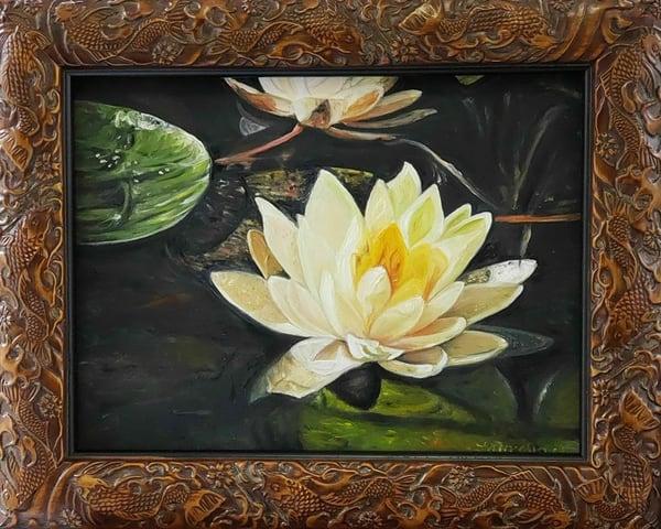 Tranquil Lotus Realistic Oil Painting Original