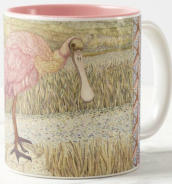 Beautiful Roseate Spoonbill art by Judy Boyd on ceramic coffee mug.