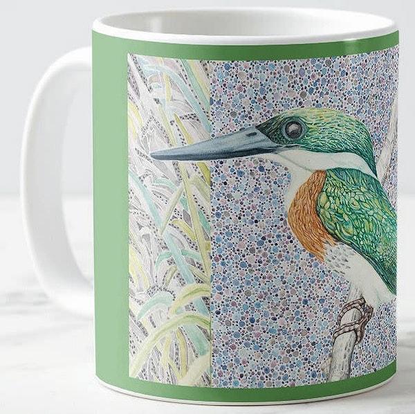 Green Kingfisher ceramic coffee mug. Art by Judy Boyd.