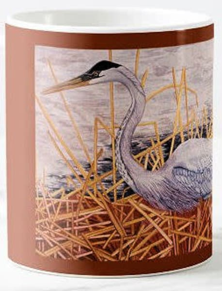 Great Blue Heron ceramic mug. Art by Judy Boyd