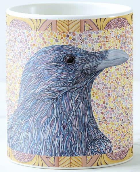 Ceramic coffee mug with Raven art by Judy Boyd