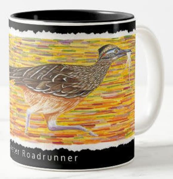 Roadrunner ceramic coffee mug. Art by Judy Boyd