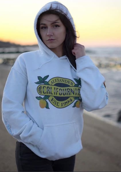 Califournia White Hoodie | Alex Ranniello Art