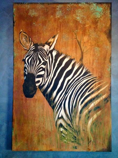 Zebra, painting in reactive metals