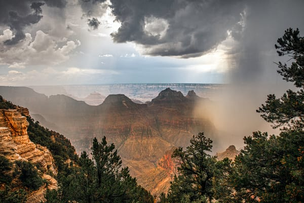 The bottom of a rain cloud opens and rain pours into the Grand Canyon
