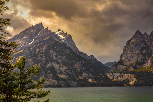A snow storm starting across Jackson Lake in Grand Teton National Park