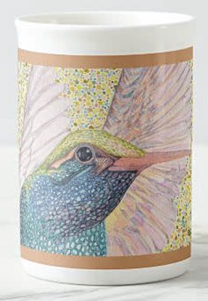 "Fine porcelain cup featuring ""Hummingbird Wings"" bird art by Judy Boyd Watercolors"