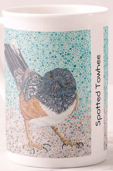 Fine porcelain cup featuring Spotted Towhee art by Judy Boyd Watercolors.