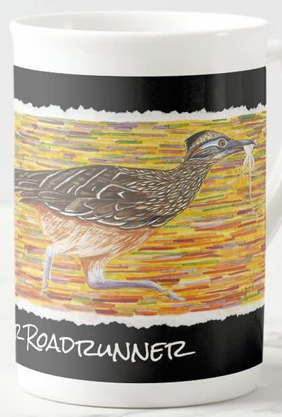 Greater roadrunner art on fine porcelain cup. Art by Judy Boyd.