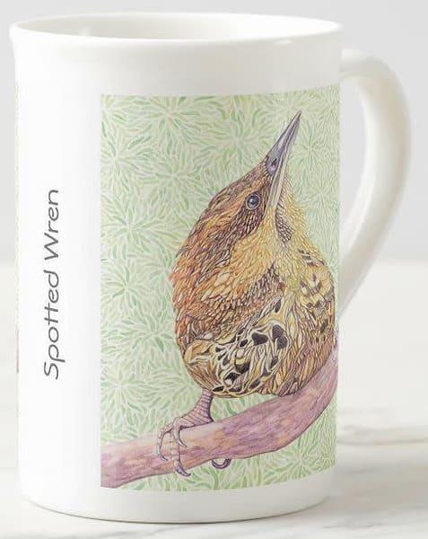 Spotted Wren art on fine porcelain cup. Art by Judy Boyd.