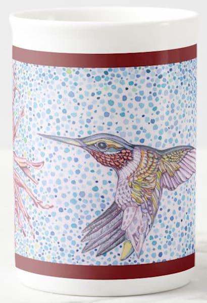 Hummingbird art on fine porcelain cup. Art by Judy Boyd.