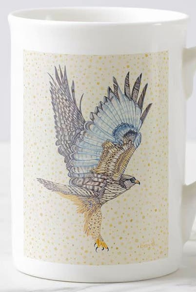 Rough-legged Hawk Cup with art by Judy Boyd.