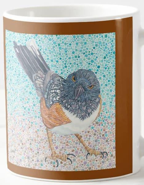 Spotted Towhee ceramic mug. Bird art by Judy Boyd