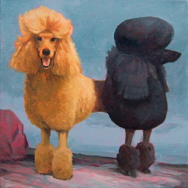 Two Headed Poodle Art   Kym Day Studio