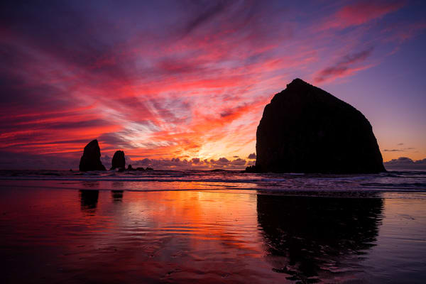 Sunset Reflections, Cannon Beach, Oregon, 2019