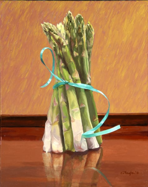 Asparagus Tied With A Blue Ribbon  Art | Helen Vaughn Fine Art