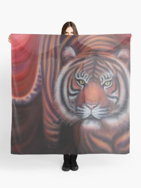 scarf, fashion, art-scarf, wearable-art, tiger, tiger-art, tiger-cat, wildcat, big-cat, animal, tiger-scarf, style, accessory