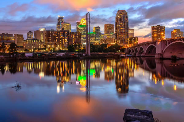 Minneapolis Skyline Dusk - MPLSart | William Drew