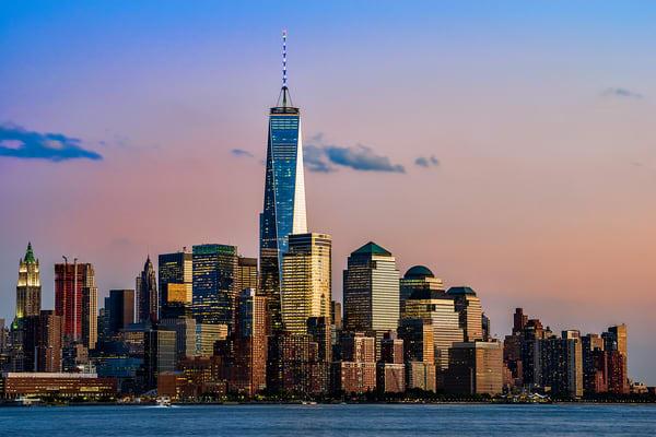 World Trade Center rising above Manhattan skyline