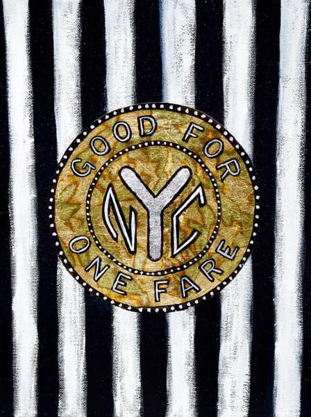 Striped Nyc Subway Token Art | Wet Paint NYC