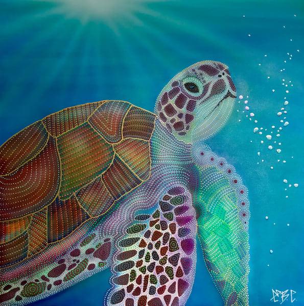 turtle, sea-turtle, painting, ocean, turtle-art, water, bubbles