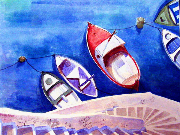 Corsica Boats of Greece by Katharine Taylor