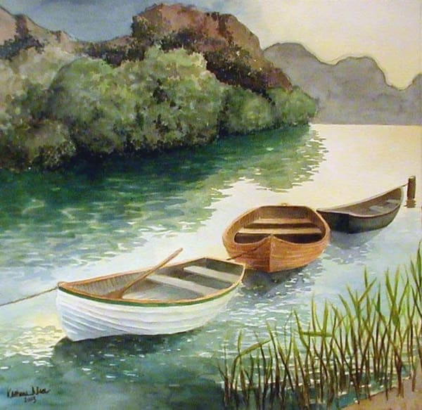 Three in a Row watercolor of a Virginia river scene by Katharine Taylor