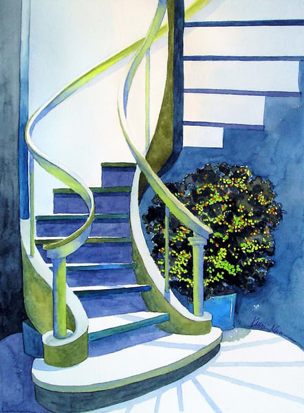 Uplifting spiral staircase in unusual color combination by Katharine Taylor