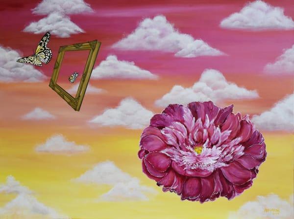 Peony - Butterflies - Frame - Sky - Clouds Art – Floating Flower Series Original Paintings – Fine Art Prints on Canvas, Paper, Metal & More