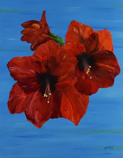 Red Amaryllis Art – Original Paintings – Fine Art Prints on Canvas, Paper, Metal & More