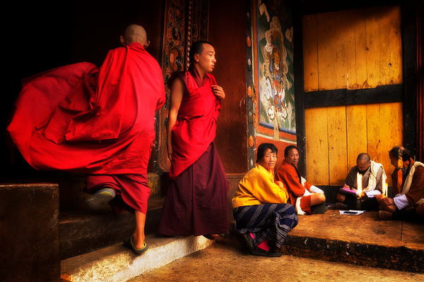 Red Robed Monks Photography Art | nancyney