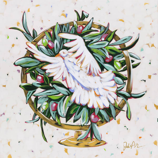 This painting by Jodi Augustine portrays world peace with a dove and olive branches in a globe.
