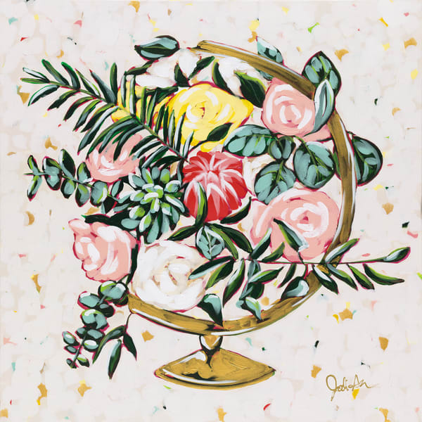 Growth is a wild floral painting inside a golden globe.
