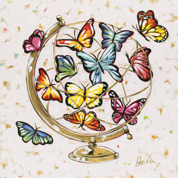 Hope is a painting of peaceful butterflies fluttering in a golden globe.