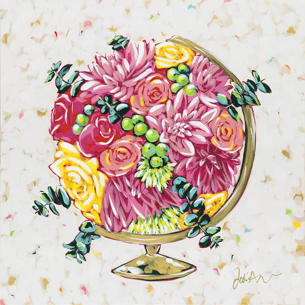 Healing is an original acrylic painting of a gold globe filled with a bouquet of flowers.