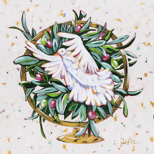 Peace is an original acrylic painting of a dove in a golden globe.