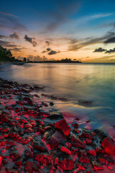 Sunset and light-painted rocks in Antigua