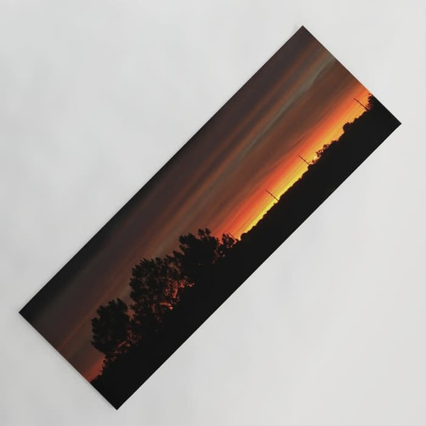 Relaxing suburban sunset yoga mat