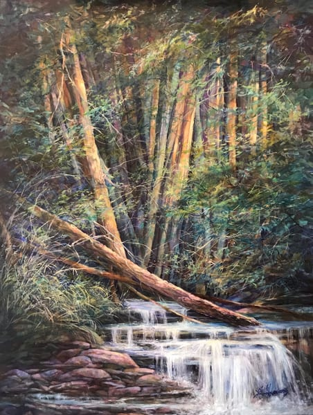 Lindy Cook Severns Art, Woods Lovely Dark and Deep, original oil