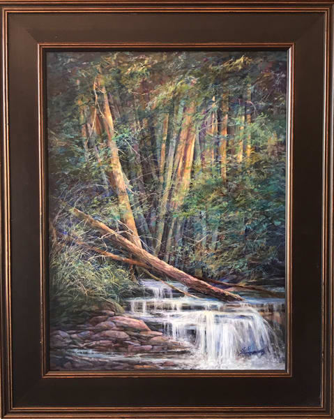 Lindy Cook Severns Art, Woods Lovely Dark and Deep, original oil